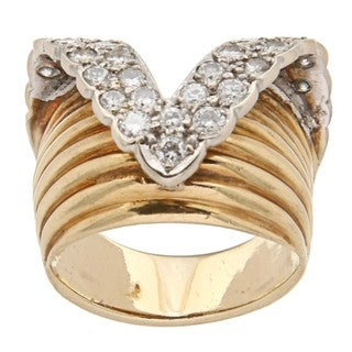 18k Yellow Gold 1 1/3ct TDW Diamond 1950's Estate Ring (I-J, SI1-SI2)