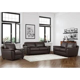 ABBYSON LIVING Sedona 3-piece Premium Top-grain Leather Sofa, Loveseat and Armchair Set