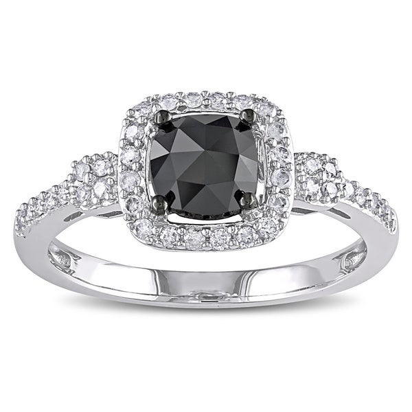 1 CT Black and White Cushion and Round Diamonds TW Fashion Ring 14k White Gold GH I1;I2 Black Rhodium Plated