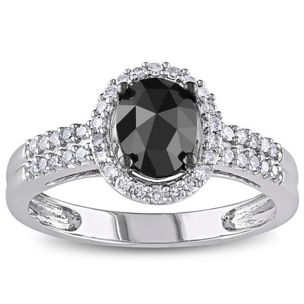 Miadora 1 CT Black and White Oval and Round Diamonds TW Fashion Ring 14k White Gold GH I1;I2 Black Rhodium Plated