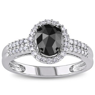 Miadora 1 CT Black and White Oval and Round Diamonds TW Fashion Ring 14k White Gold GH I1;I2 Black Rhodium Plated