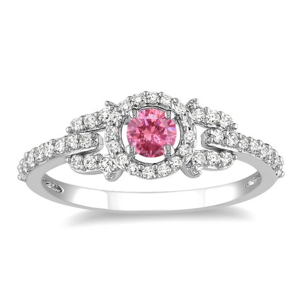 Miadora 14k Gold 1ct TDW Pink and White Diamond Halo Ring (G-H, I1-I2)