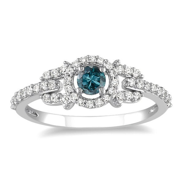 Miadora 14k Gold 1/2ct TDW Blue and White Diamond Halo Ring (G-H, I1-I2)