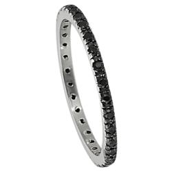 Journee Collection Sterling Silver Black Stackable Cubic Zirconia Eternity Band