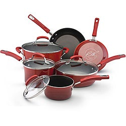 Rachael Ray II Red Porcelain Enamel Nonstick 10-piece Cookware Set