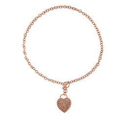 La Preciosa Rose Goldtone Cubic Zirconia Heart Necklace