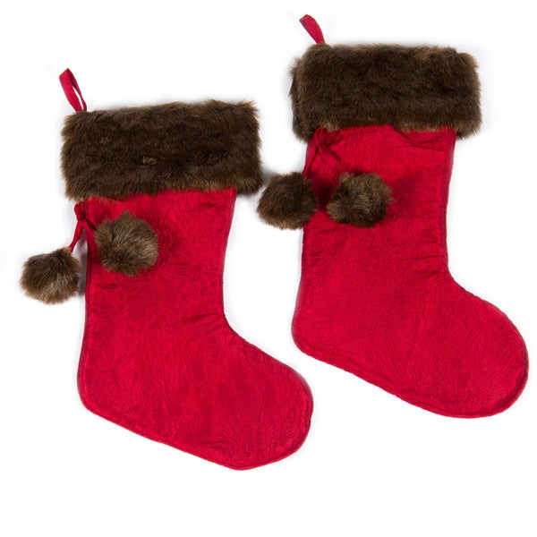 Set of Two Christmas Noel Stocking with Pom by Selections by Chaumont
