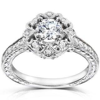 Annello 14k White Gold 1/2ct TDW Diamond Engagement Ring (H-I, I1-I2)