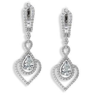 Annello 14k White Gold 1 1/10ct TDW Diamond Earrings (H-I, I1-I2) with Bonus Item