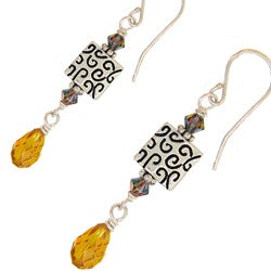 Misha Curtis Sterling Silver Amber Crystal Teardrop Earrings