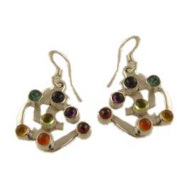 Sterling Silver 7 Gemstone Chakra Om Earrings (India)