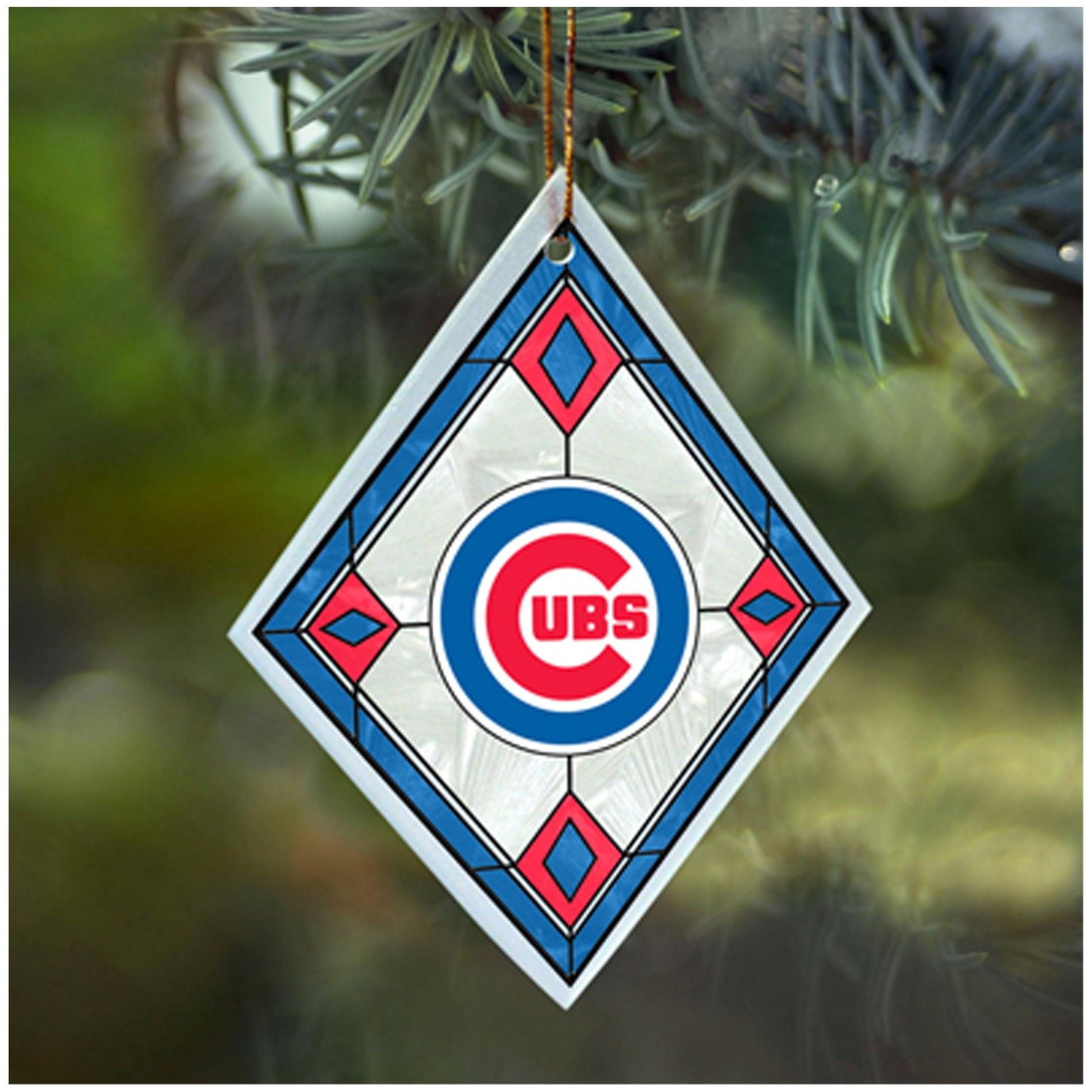 Chicago Cubs MLB Art Glass Ornament