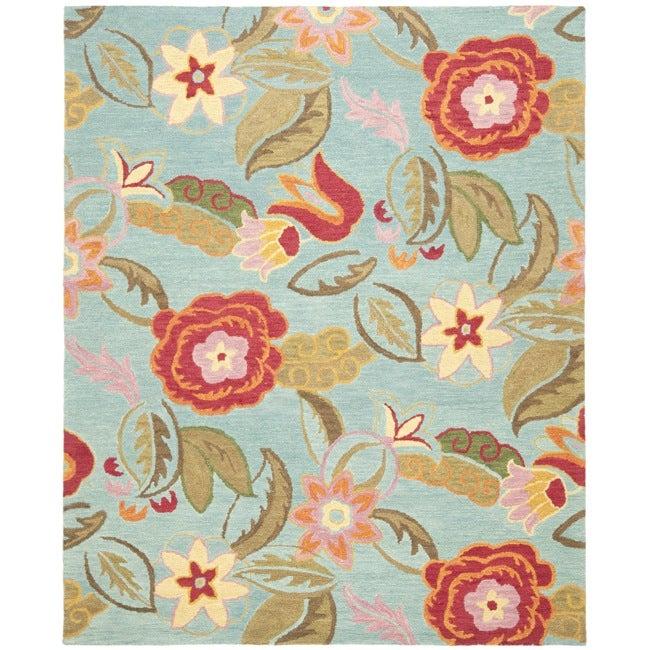 Safavieh Handmade Blossom Blue Floral Wool Rug (8'9 x 12')