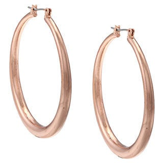 NEXTE Jewelry Rose Goldtone Tapered Round Hoop Earrings