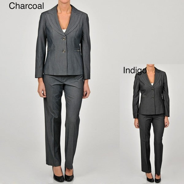 Sharagano Women's 2-button Trim Detailed Pant Suit