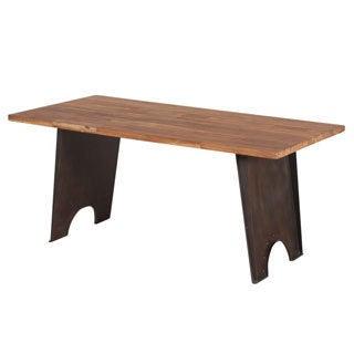 Steel Base Teak Wood Top Dining Table (India)