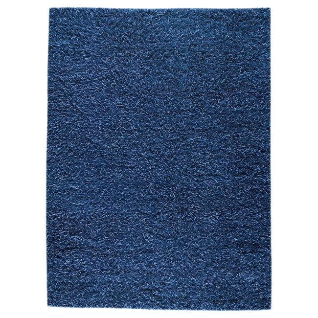 Hand-woven Smix Blue Wool Rug (5'6 x 7'10)