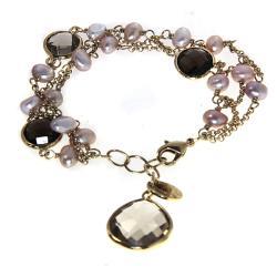 Adee Waiss 18k Gold Overlay Smokey Quartz and FW Pearl Bracelet
