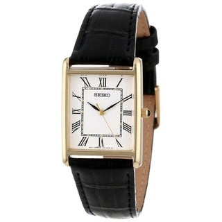 Seiko Men's Gold Rectangle Face White Dial Leather Band Watch