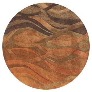 Alliyah Handmade Multi Abstract New Zealand Blend Wool Rug (8' Round)