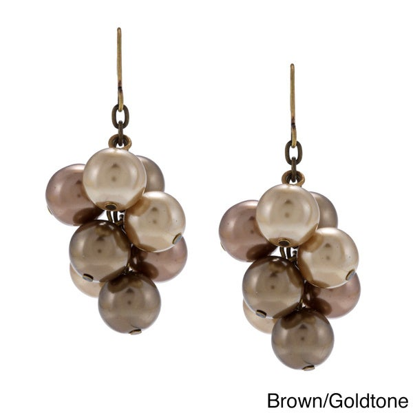 Alexa Starr Antiqued-goldtone Brown Faux-pearl Cluster Dangle Earrings