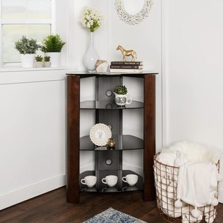 Audio Component 35-inch Tower with Espresso Wood Accents