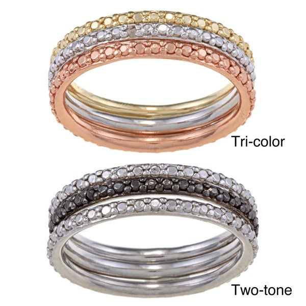 DB Designs Diamond Accent 3-Piece Stackable Ring Set (Set of 3)