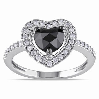 Miadora 14k White Gold 1ct TDW Black and White Diamond Heart Halo Ring (G-H, I1-I2)