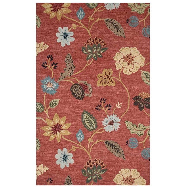 Hand-tufted Red Wool Rug (3'6 x 5'6)