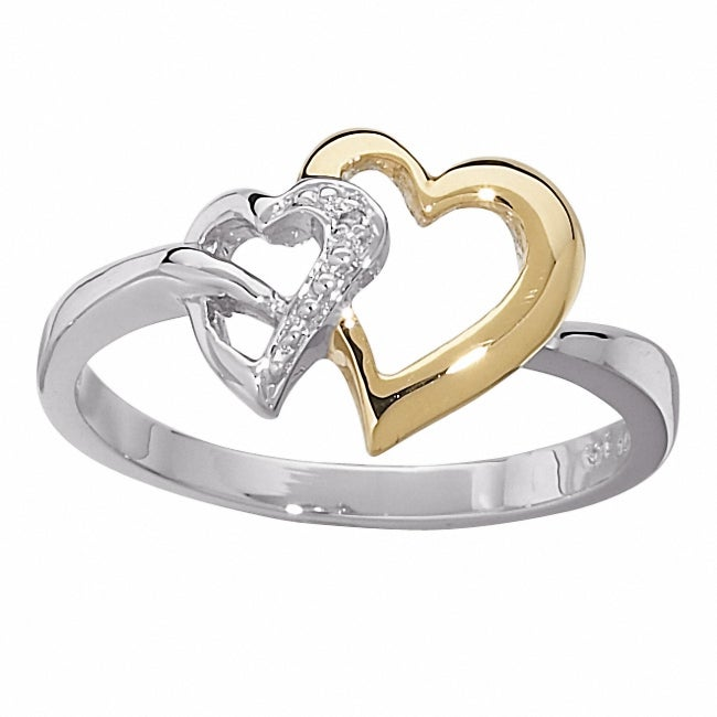 14k Gold and Sterling Silver Diamond Accent Heart Ring