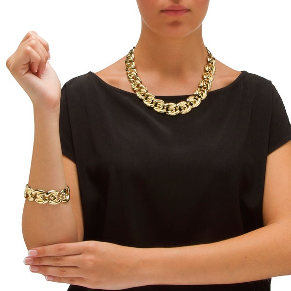 PalmBeach Curb-Link Necklace, Bracelet and Drop Earrings 3-Piece Set in Yellow Gold Tone Bold Fashion