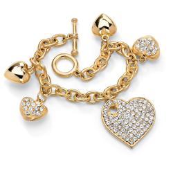 PalmBeach PalmBeach Jewelry Gold-tone Crystal Multi-heart Charm Bracelet Bold Fashion
