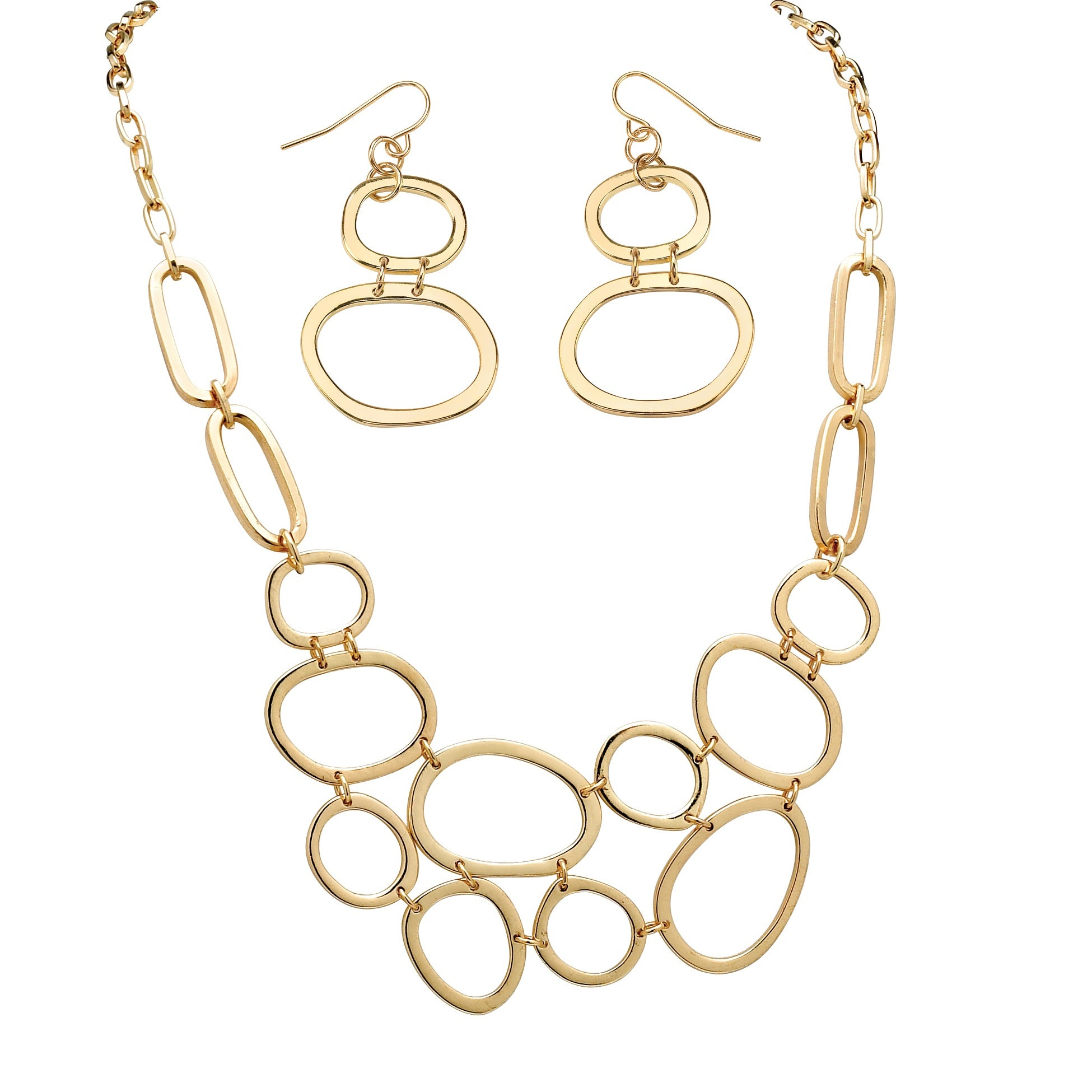 Toscana Collection Gold Overlay Oval Necklace and Earring Set