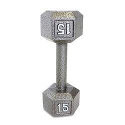 CAP Barbell 15 lb Grey Cast Iron Hex Dumbbell