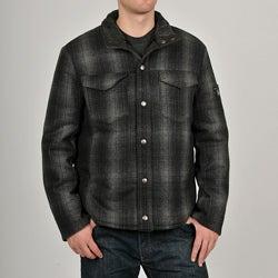Chaps Men's Black Wool-blend Plaid Shirt Jacket