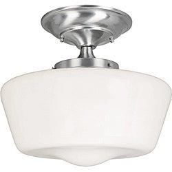 Luray Collection 1-light Satin Nickel Finish Semi-flush Fixture