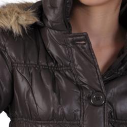 Ci Sono by Journee Juniors Faux Fur Trim Bubble Jacket