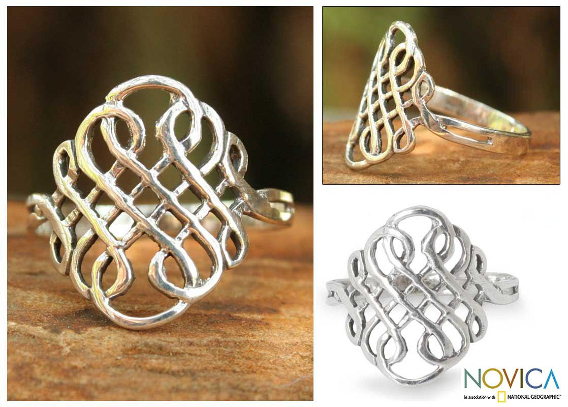 Sterling Silver 'Thistle Knot' Cocktail Ring (Thailand)