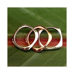 Set of 3 Sterling Silver and Copper 'Taxco Destiny' Rings (Mexico)
