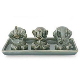 Set of 3 Celadon Ceramic 'Elephant Lessons' Sculptures (Thailand)