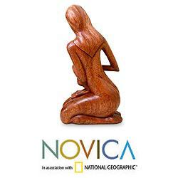 Handcrafted Suar Wood 'Mother and Her Child' Sculpture (Indonesia)