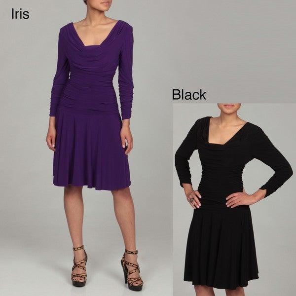 Sophia Christina Women's Ruched Long-sleeve Dress