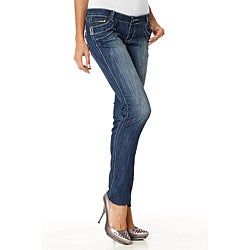 MDZ Morgan Embroidered Five-pocket Front-distressed Skinny Jeans