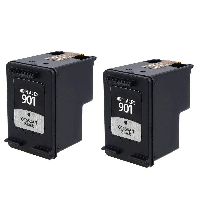 INSTEN HP 901 CC653AN Black Ink Cartridge Remanufactured (Pack of 2)