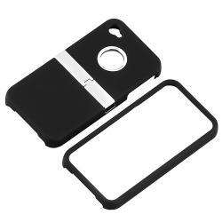 INSTEN Black Snap-on Phone Case Cover with Chrome Stand for Apple iPhone 4