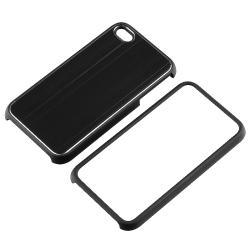 INSTEN Black Brushed Aluminum Snap-on Phone Case Cover for Apple iPhone 4 AT&T/ Verizon