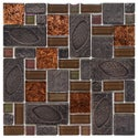 SomerTile 11.75x11.75-in Oasis Versailles Walnut Glass/ Ceramic Mosaic Tile (Pack of 10)