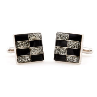 Cuff Daddy Silvertone Brickwall Diamond Dust Cuff Links