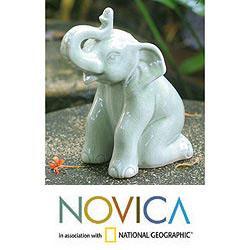 Celadon Ceramic 'Green Elephant Welcome' Sculpture (Thailand)