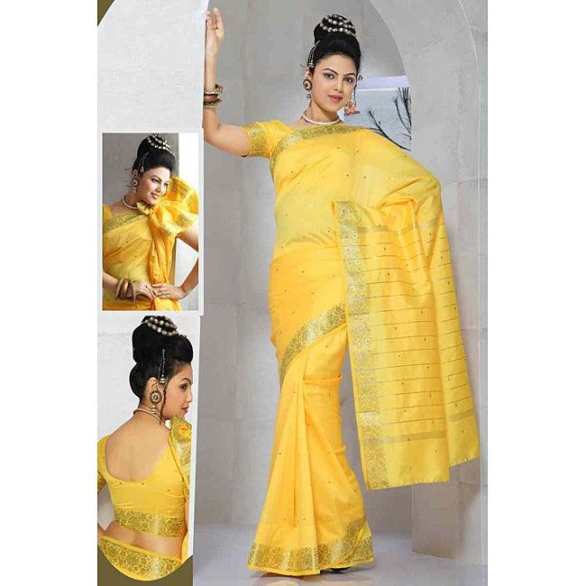 Yellow Golden Border Fabric Sari (India)
